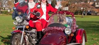 Santa Rides a Motorbike